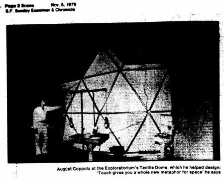 """Part of a 1978 San Francisco Examiner article about the new Tactile Dome at the Exploratorium, which was created by August Coppola (Nicolas Cage's dad). From the article: """"Sex, at its best, should be a shared strength of sensitivity and a fantasy at skin level. You can't tickle yourself, you know."""""""