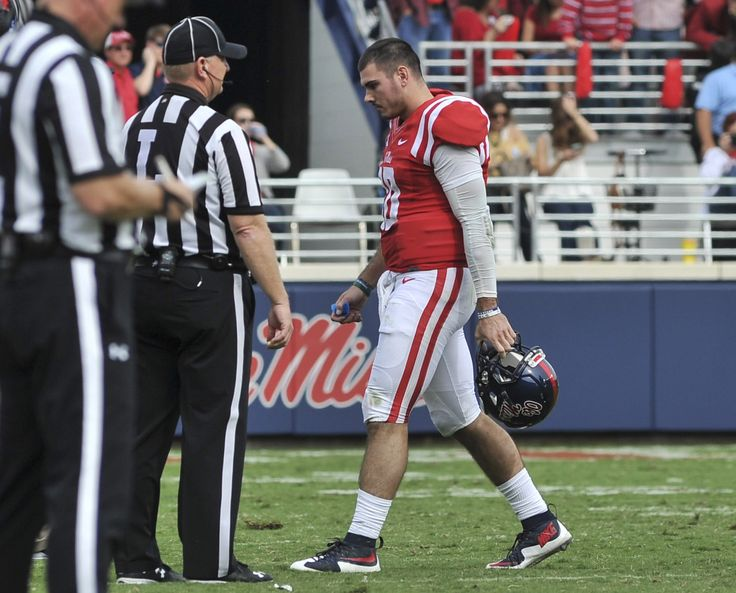 Nov 5, 2016; Oxford, MS, USA; Mississippi Rebels quarterback Chad Kelly (10) walks off the field during the second half against Georgia Southern Eagles at Vaught-Hemingway Stadium.  (1590×1282)