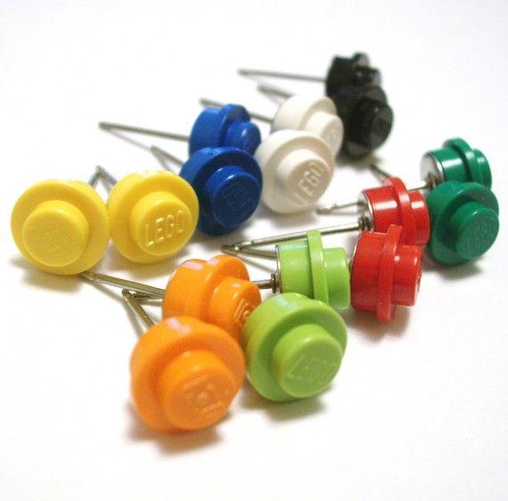 ... Lego Diy Crafts, Studs Earrings, Lego Studs, Lego Earrings, Earrings