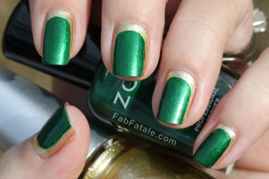 Love this combination and design | Pantone Emerald Nail Polish - Chanel Haute Couture Nail Art - from Fab Fatale