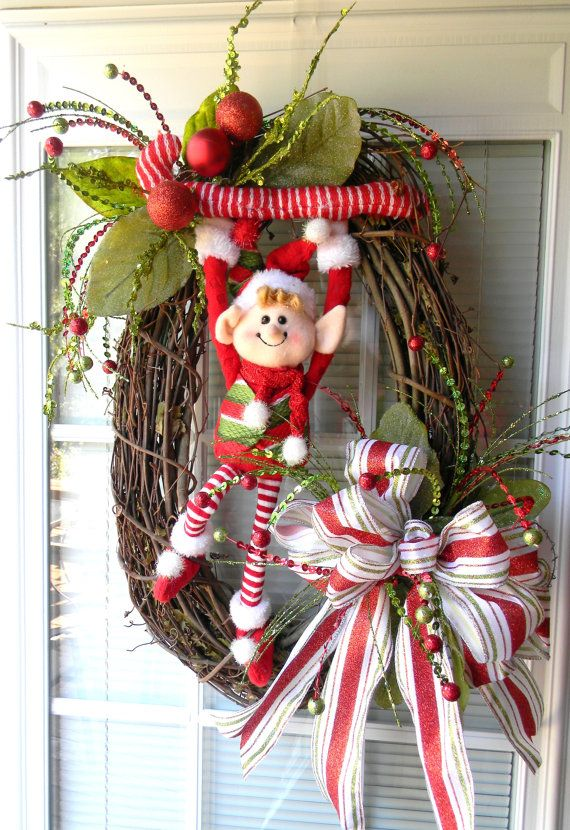 elf christmas wreath holiday wreath christmas by
