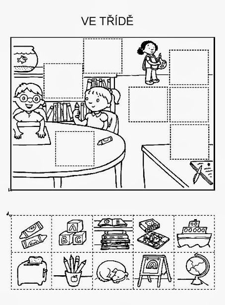 Puzzel knippen en plakken - school
