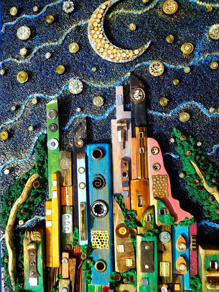 dettaglio City under streams of Stars Silvia Logi Artworks  https://www.facebook.com/silvialogiartworks/photos/a.353447668029633.77019.121475337893535/870730946301300/?type=1&theater