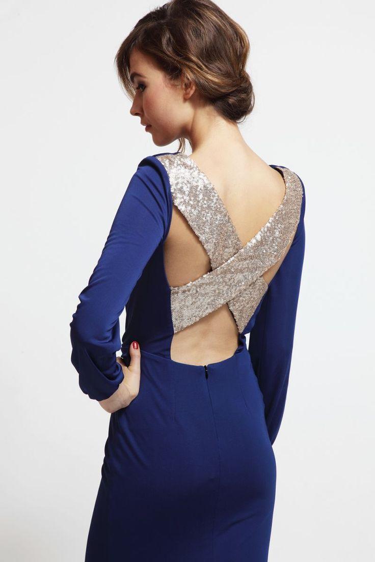 vestido corto de fiesta azul con escote en espalda cruzado de ...