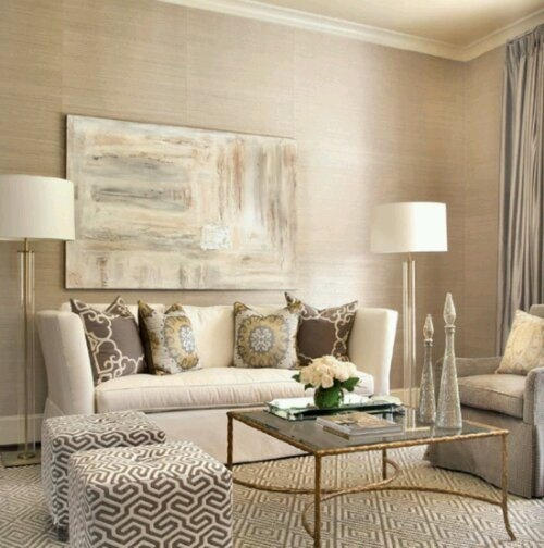 living room......master bedroom color scheme. I love the creams and grays with the pop of gold.