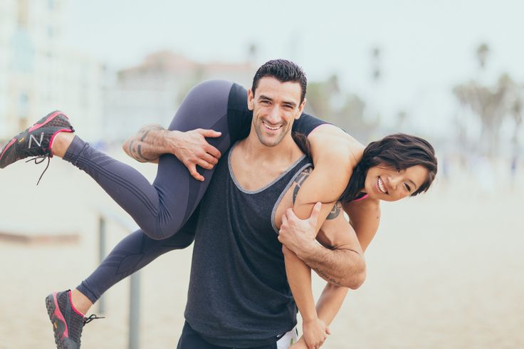 Beach and fitness engagement photos