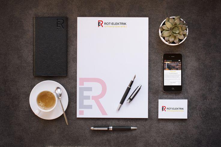 Rot-Elektrik villanyszereléssel foglalkozó betéti társaság logó, cég arculat és responsive webdesig terve.