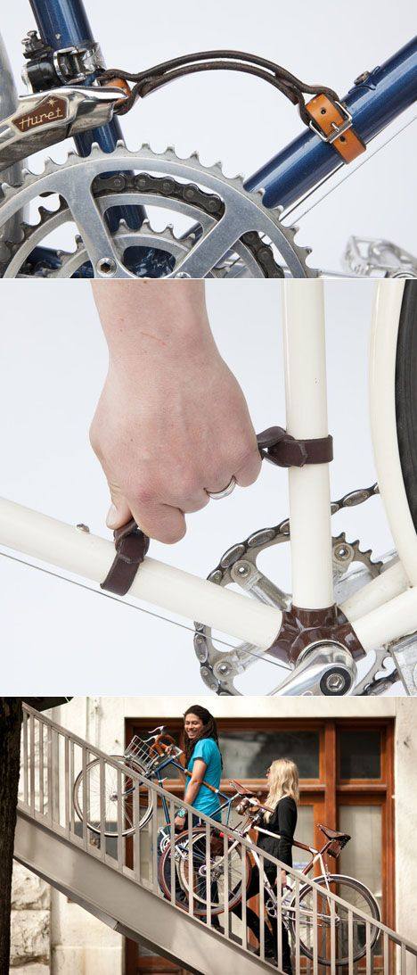 That better way is Walnut Studiolo's Bicycle Frame Handle, a simple leather strap that lets you carry your ride safely, easily, and ergonomically.