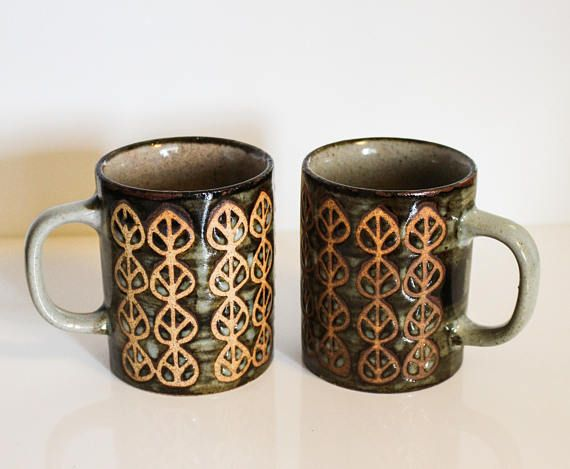 Vintage Stoneware Coffee Cups With Carved Leaves ~ Ceramic Coffee Mugs with Leaf Print ~ Green and Brown Earth Colors ~ Handmade Ceramic Cup