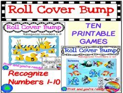 Maths Centre Games Learning NUMBERS BUNDLE 1-10 RECOGNITION Roll Cover Bump Fun by mareehenderson21 - Teaching Resources - Tes