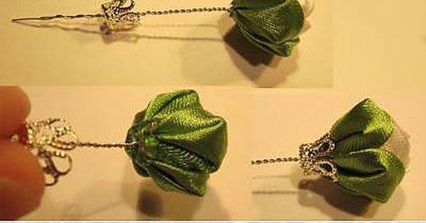 Украшения из лент и ткани | Bud, Ribbons and Pearls
