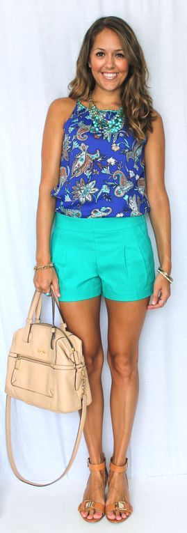 teal shorts, blue paisley shirt