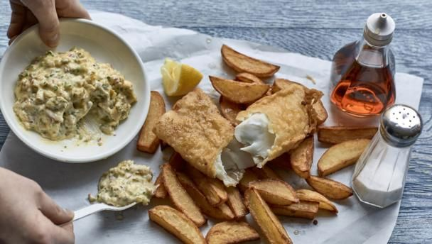 A British classic of crunchy beer-battered fish and chips, with homemade tartare sauce. Serve with lots of salt and vinegar!