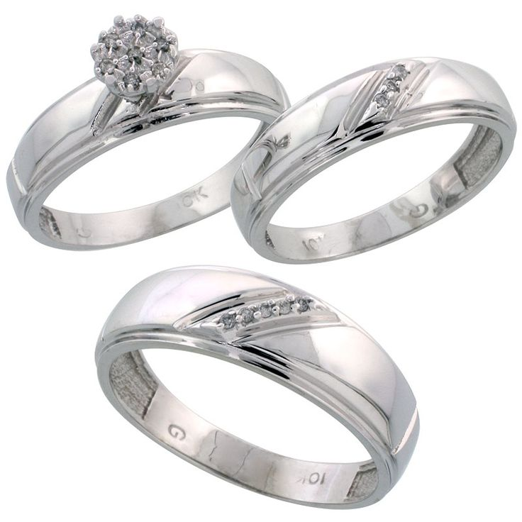 Cool White Gold Diamond Trio Engagement Wedding Ring Set for Him and Her mm u mm wide cttw Brilliant