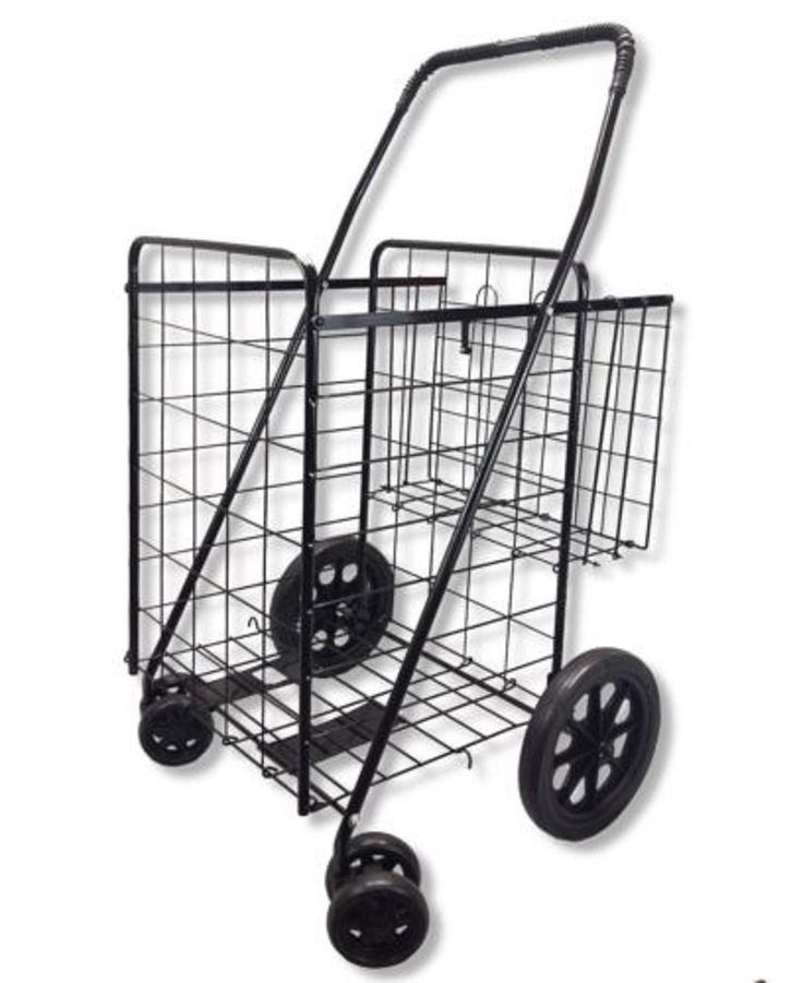 Wellmax WM99017S Folding Shopping Cart with Double Basket and Swivel Wheels