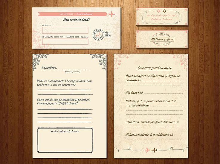 """Wedding invitations ideas/Idei invitatii de nunta originale. Place-card, etichete pentru borcănele şi carduri pentru cartea de oaspeţi """"Jurnal de călătorie"""" pentru invitaţia de tip """"bilet de îmbarcare""""."""