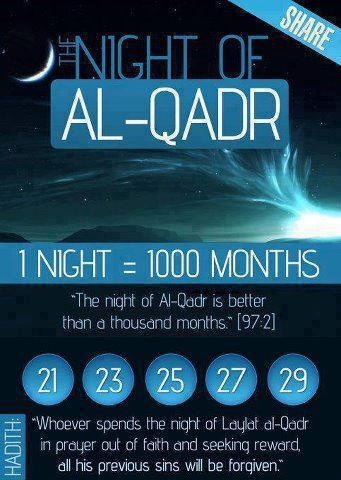 Night of AL-QADR - Laylat al-Qadr (Arabic: لیلة القدر‎) (also known as Shab-e-Qadr , loaned from Persian), variously rendered in English as the Night of Destiny, Night of Power, Night of Value, the Night of Decree or Night of Measures.