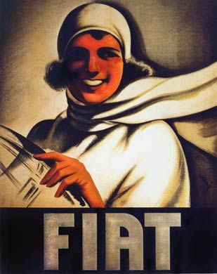 Fiat , 1920s poster for the Italian car