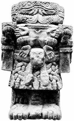 Dibujo conceptual de Coatlicue   COATLICUE.  Diosa azteca de la fertilidad, madre del dios *Huitzilopochtli, llamada...