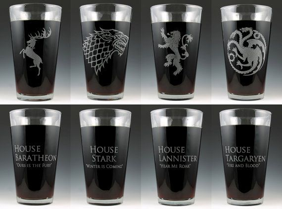 Game of Thrones Dual Sided House Pint Glass Set on Etsy, $36.00