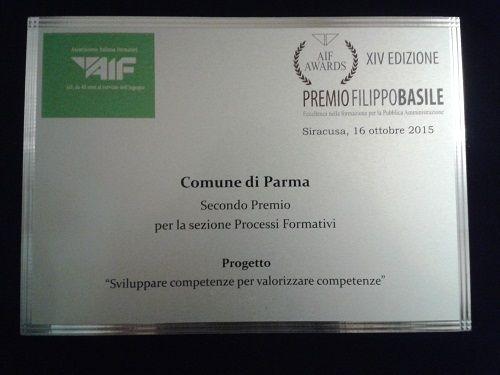Premio Basile al Comune di Parma nella sezione Progetti Formativi