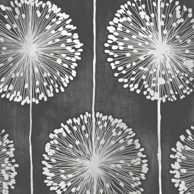 Muriva Dandelion Floral Wallpaper Black / Grey (J04219) - Muriva from I love wallpaper UK