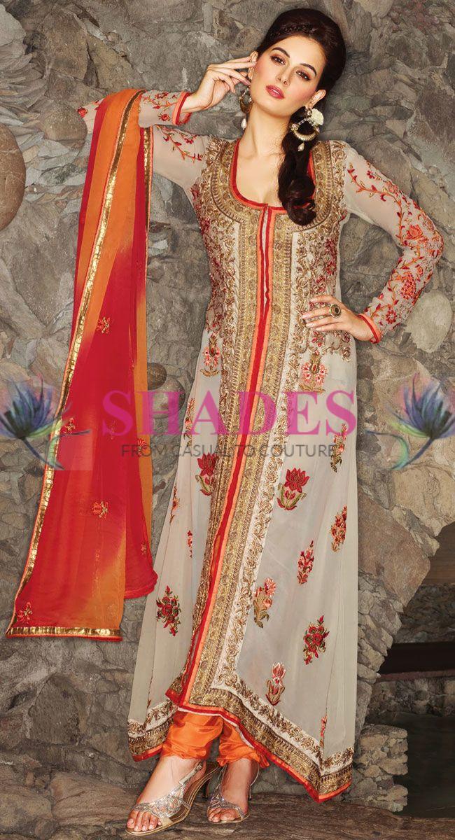 Elegant beige and orange shade faux georgette Pakistani suit beautifully adorned with resham and zardosi embroidered. Shop Now@ http://www.shadesandyou.com/product-category/readymade-suits/  #PakistaniSalwarKameez #PartyWearSuits #AnarkaliSuitsOnline #PakistaniDress