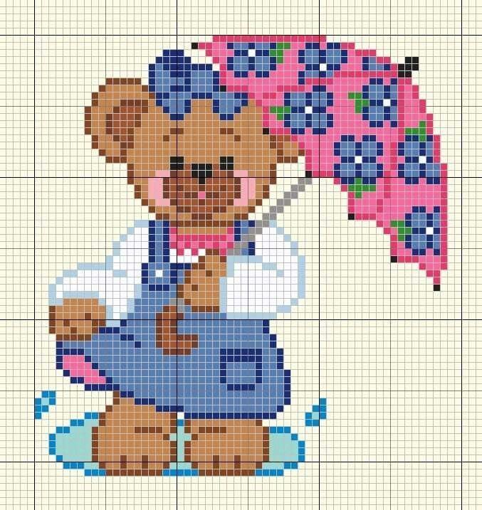Ursinhos Bordado Do Bebe Pontos Cruz Para Desenhos Da Disney
