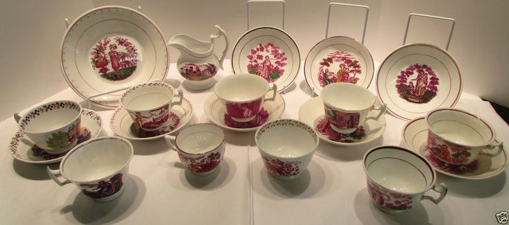 .  Pink Lusterware Polychrome Faith Hope Charity Cup and Saucers
