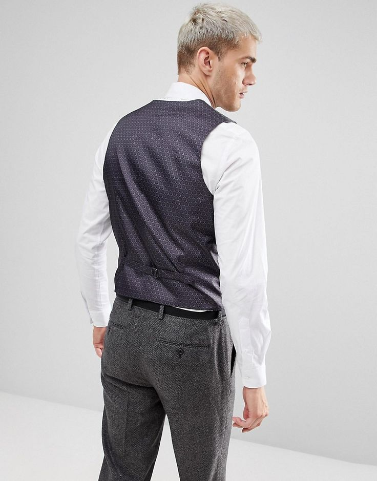ASOS Skinny Suit Vest In Gray Houndstooth - Gray