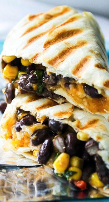 Crispy Black Bean and Rice Burritos