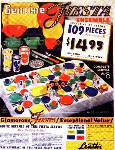 Vintage Fiesta ware advertisement. If only this was the deal today, but sadly deals like this and many of these colors have been retired.