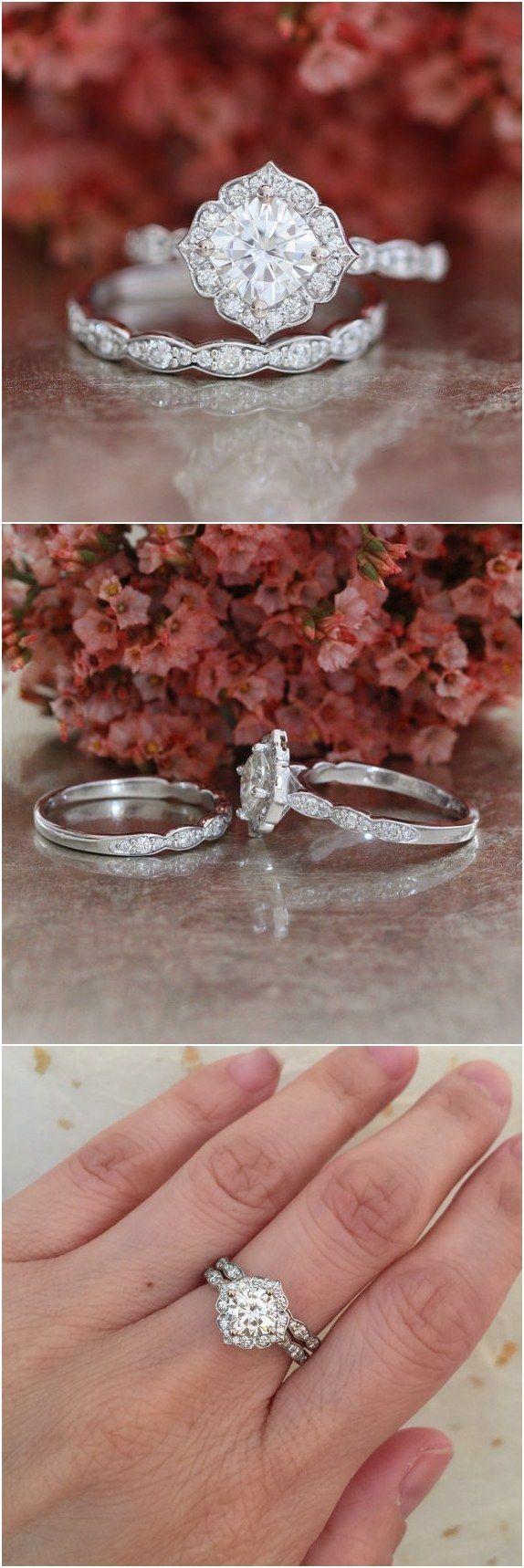 Forever One Moissanite Engagement Ring And Scalloped Diamond Wedding Band Bridal Set 14k White Gold 6x6mm