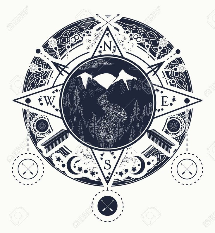 Mountain wind rose compass tattoo art. Tattoo for camping, tracking and hiking. … – Abstract pattern