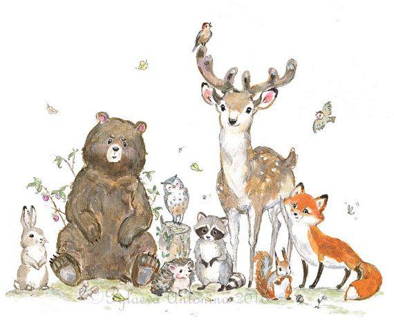 Woodland Nursery Decor boy Nursery art boy Woodland animals Forest animals Bear Fox Deer Raccoon Owl Woodland Creatures hedgehog nursery art