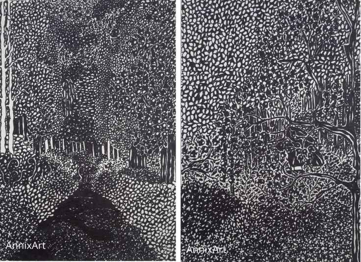 Detailed black and white drawing of a girl walking through the woods. Night time forest illustrations. Art by AnnixArt.