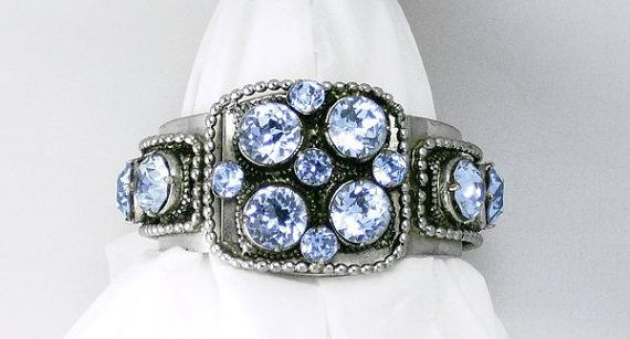 Dazzling, Sumptuous, sparkling! From my personal collection......   Awesome RARE and massive signed SANDOR cuff bracelet with HUGE lite blue
