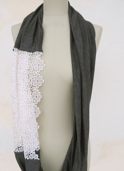DYI scarf, old t-shirt and lace! Could be cute way to extend a running-out-of-yarn short scrap scarf.