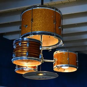 Can't decide which I like better, the drum kit chandelier or the piano bookcase!!! 30 Brilliant Ways to Repurpose...