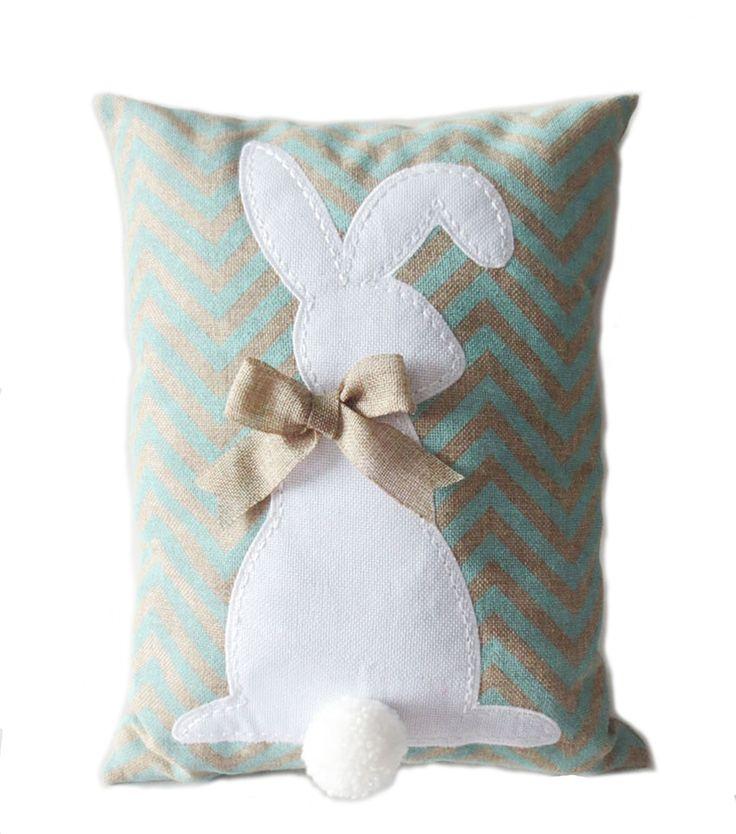 Burlap Easter Bunny Pillow Blue 1176 best easter