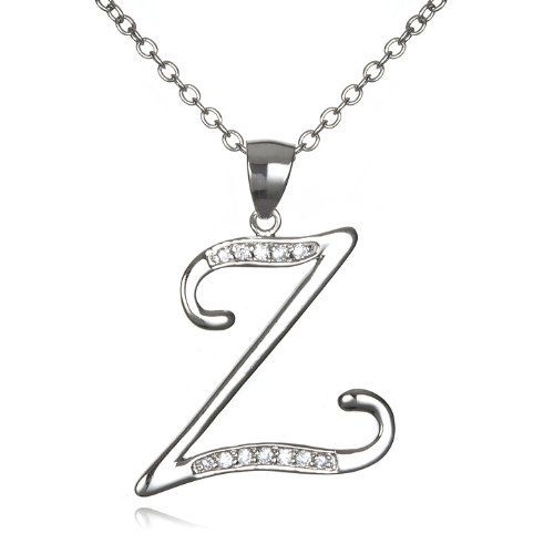 "Initial ""Z"" Pendant with White CZ-18"" CHELINE. Save 57 Off!. $15.00"