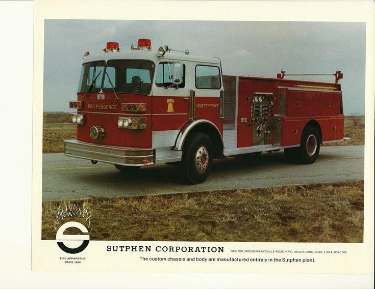 Seagrave Fire Apparatus >> Sutphen Corporation - Independence - Vintage - Fire Truck - Sales Brochure Sheet | Firetrucks ...