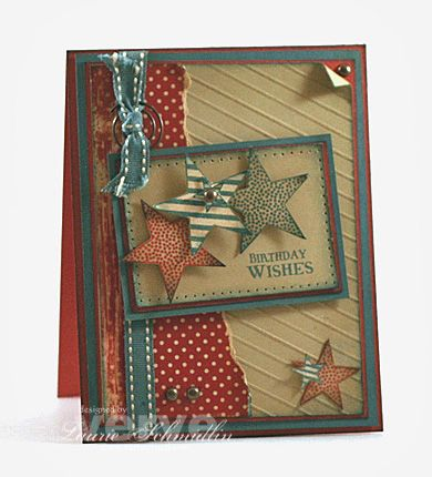 Recipe Stamps: Seeing Stars, Wonderful Wishes (Verve Stamps) Paper: River Rock, Blue Bayou, Ruby Red, Patterned Paper (My Mind's Eye), Shimmery White c.s. Ink: Blue Bayou, Ruby Red, River Rock, Antique Linen Distress Ink Other: Blue Bayou Dbl. Stitched Ribbon, Antique Brass hardware (brads and swirl clip), Scor-Pal, Paper piercer