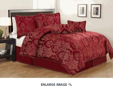 7 Piece Queen Carrie Burgundy Jacquard Comforter Set