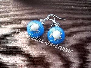 Boucles d'oreilles Argent 925 Bleu translucide