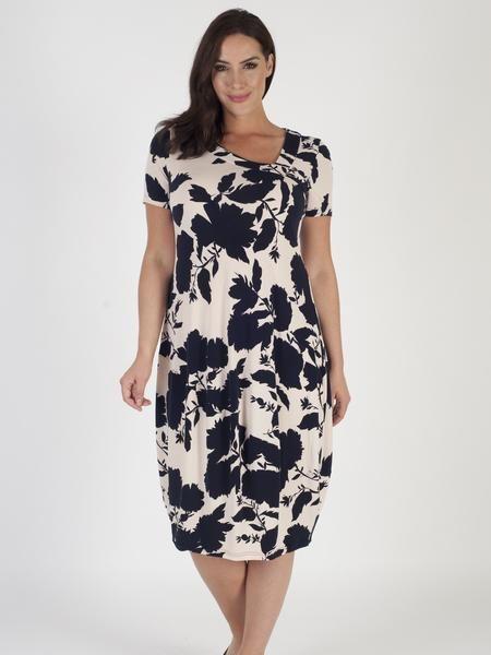 Blush/Navy Floral Print Jersey Dress
