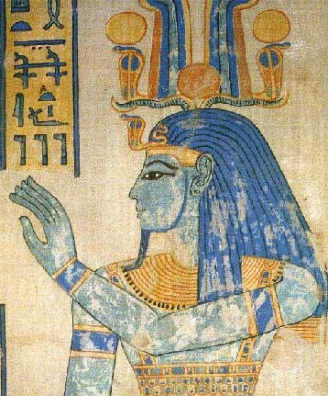 """The original Egyptian blue color in this ancient painting is from a scene of God Tatenen in the tomb of Amenherkhepshef, son of Ramesses VI (KV13). Tatenen sometimes written as Tatjenen, symbolizes the emergence of silt from the fertile Nile after the waters of the inundation recede. The meaning of his name is uncertain but may possibly mean """"the rising earth"""" or """"exalted earth""""."""