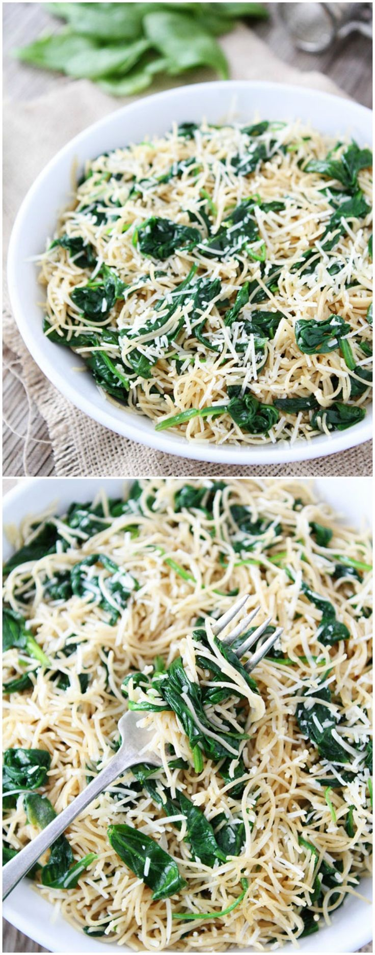 5-Ingredient Spinach Parmesan Pasta Recipe on twopeasandtheirpod.com Love this quick and easy pasta dis