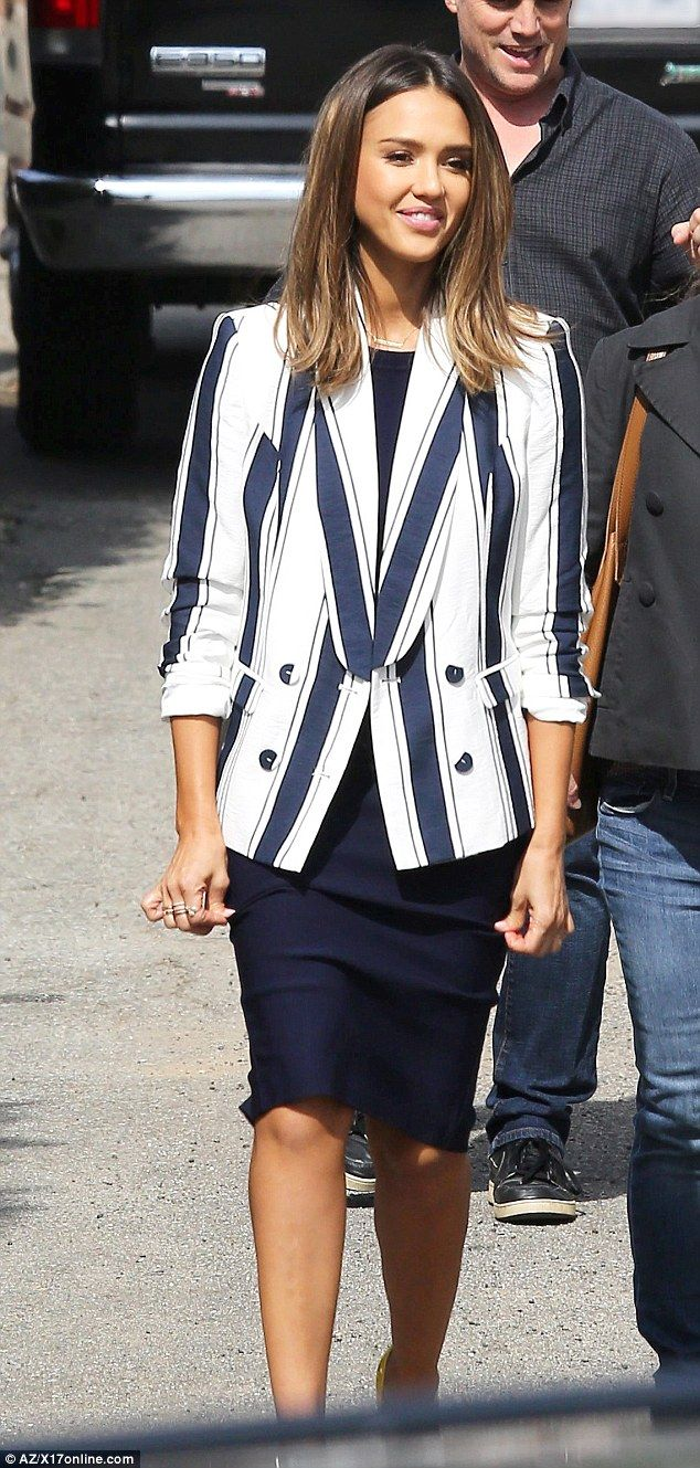 All business: Jessica Alba, 34, stepped out in a boldly striped ensemble as she filmed Celebrity Apprentice in Beverly Hills on Saturday