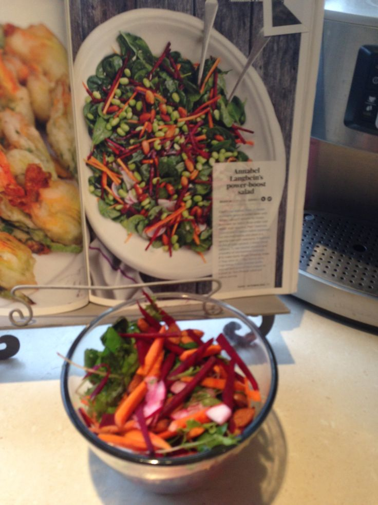 Annabel Langbein's powerboost salad Taste mag 84 pg 77. Made without the edamame. Gluten/dairy/soy free.